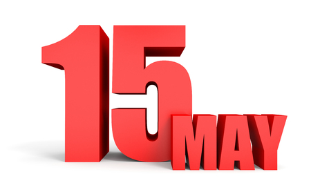 fifteen: May 15. Text on white background. 3d illustration. Stock Photo