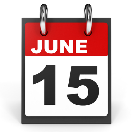 fifteenth: June 15. Calendar on white background. 3D illustration. Stock Photo