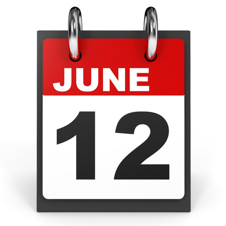 a 12: June 12. Calendar on white background. 3D illustration.