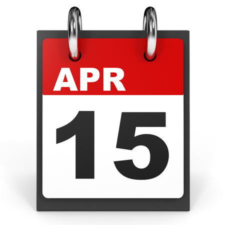 fifteen: April 15. Calendar on white background. 3D illustration. Stock Photo