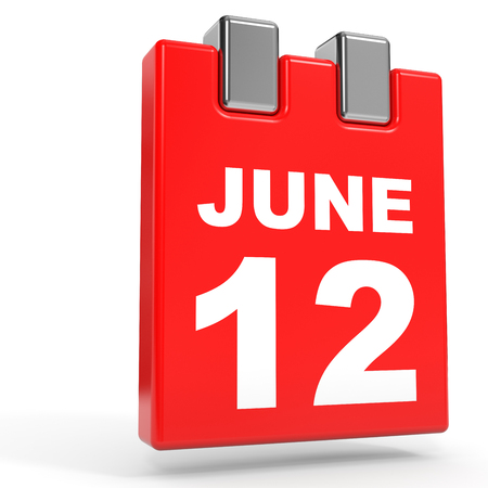 12: June 12. Calendar on white background. 3D illustration.