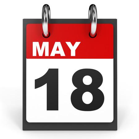 18: May 18. Calendar on white background. 3D illustration.