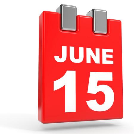 15: June 15. Calendar on white background. 3D illustration. Stock Photo