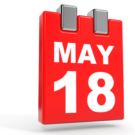 18: May 18. Calendar on white background. 3D illustration.