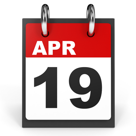 19: April 19. Calendar on white background. 3D illustration.