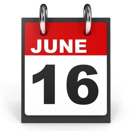 sixteenth note: June 16. Calendar on white background. 3D illustration.