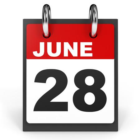 28: June 28. Calendar on white background. 3D illustration. Stock Photo