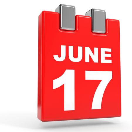 seventeenth: June 17. Calendar on white background. 3D illustration.