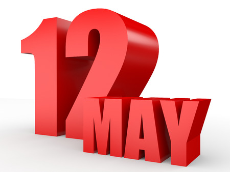 number 12: May 12. Text on white background. 3d illustration.