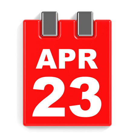 April 23. Calendar on white background. 3D illustration.