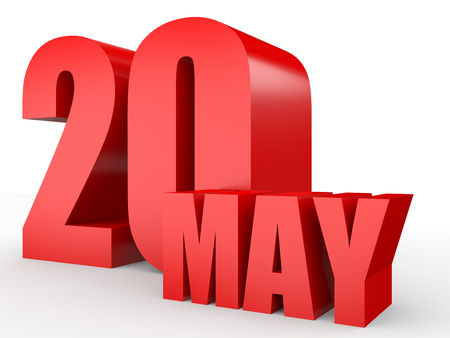 May 20. Text on white background. 3d illustration.