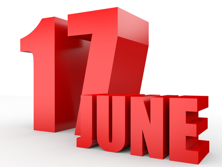 seventeenth: June 17. Text on white background. 3d illustration. Stock Photo