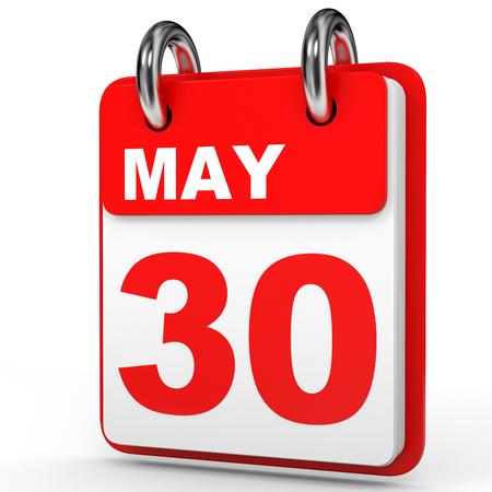 May 30. Calendar on white background. 3D illustration. Stock Photo