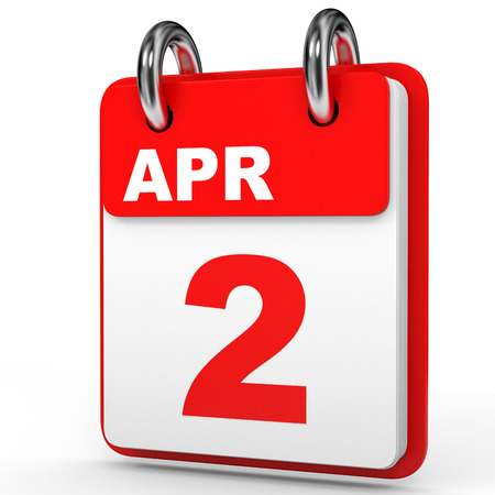 April 2. Calendar on white background. 3D illustration.
