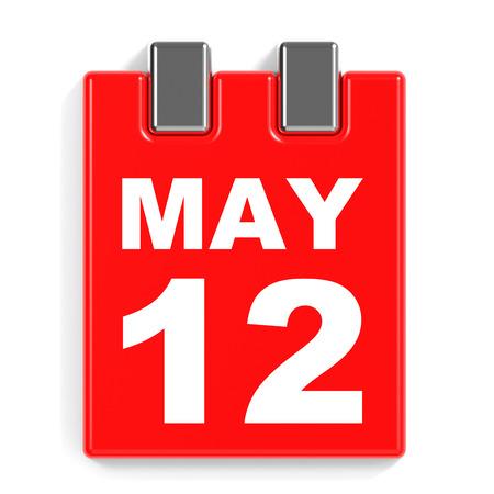 May 12. Calendar on white background. 3D illustration.