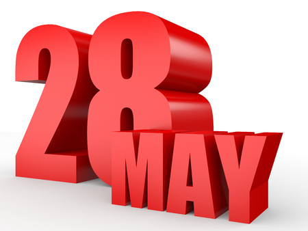 28: May 28. Text on white background. 3d illustration. Stock Photo