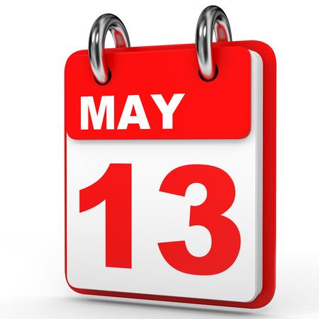 May 13. Calendar on white background. 3D illustration.