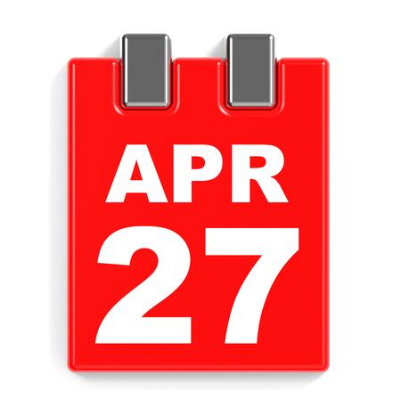 April 27. Calendar on white background. 3D illustration. Stock Photo