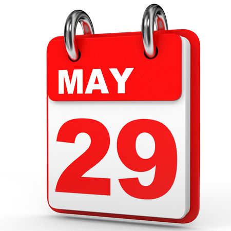 May 29. Calendar on white background. 3D illustration.