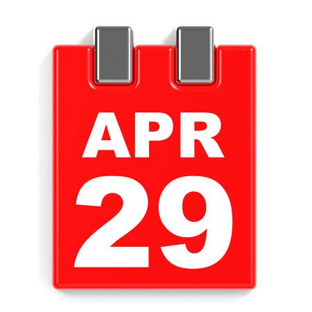 April 29. Calendar on white background. 3D illustration. 版權商用圖片