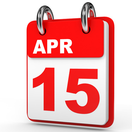 fifteen: April 15. Calendar on white background. 3D illustration. Stock Photo