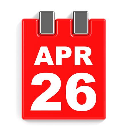twenty sixth: April 26. Calendar on white background. 3D illustration. Stock Photo