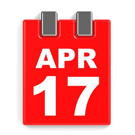 seventeenth: April 17. Calendar on white background. 3D illustration.