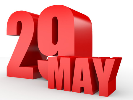 May 29. Text on white background. 3d illustration.