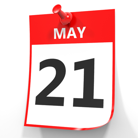 May 21. Calendar on white background. 3D illustration.