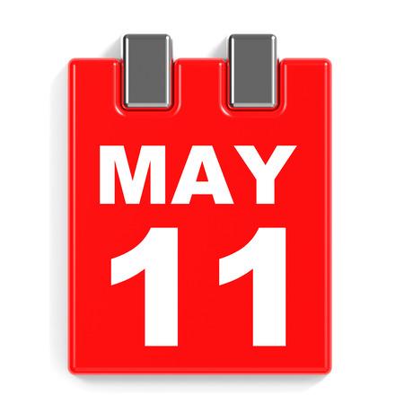 May 11. Calendar on white background. 3D illustration.