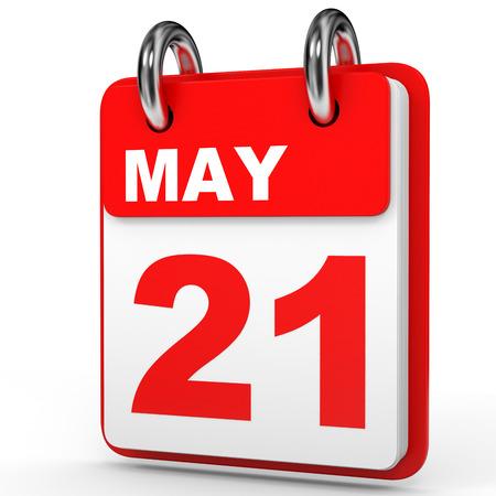 May 21. Calendar on white background. 3D illustration.