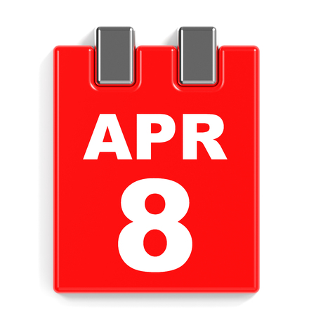 April 8. Calendar on white background. 3D illustration. Stock Photo
