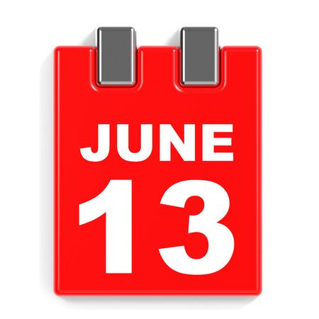 June 13. Calendar on white background. 3D illustration. Stock Photo