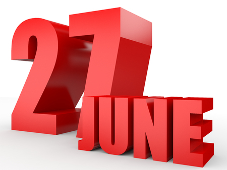 June 27. Text on white background. 3d illustration. Stock Photo