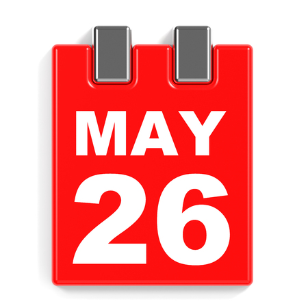 May 26. Calendar on white background. 3D illustration.