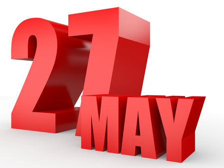 27: May 27. Text on white background. 3d illustration. Stock Photo