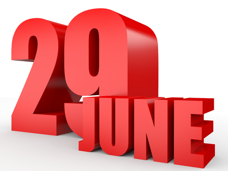 ninth: June 29. Text on white background. 3d illustration. Stock Photo