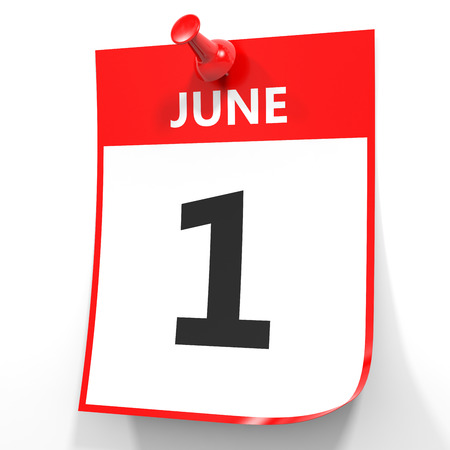 June 1. Calendar on white background. 3D illustration.