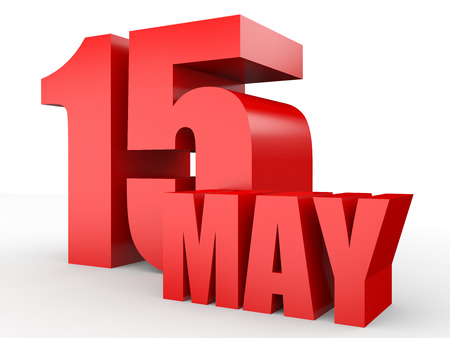 May 15. Text on white background. 3d illustration. Stock Photo