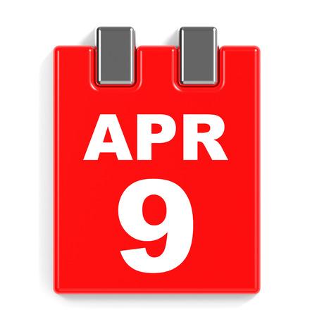 April 9. Calendar on white background. 3D illustration.