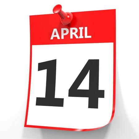 fourteenth: April 14. Calendar on white background. 3D illustration. Stock Photo