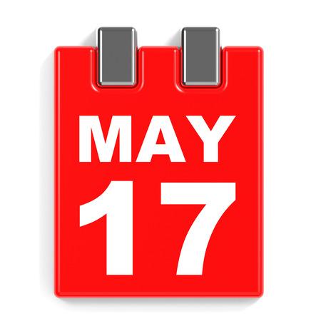 May 17. Calendar on white background. 3D illustration.