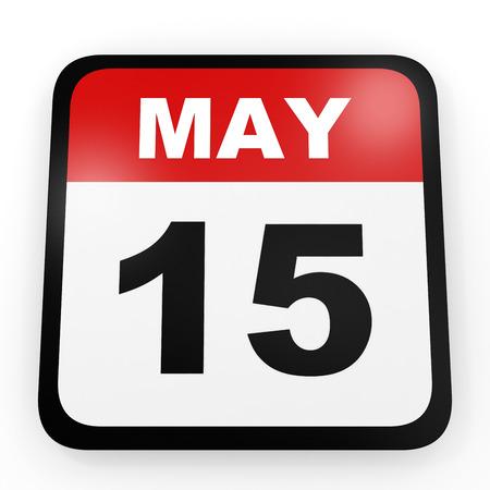 15: May 15. Calendar on white background. 3D illustration.