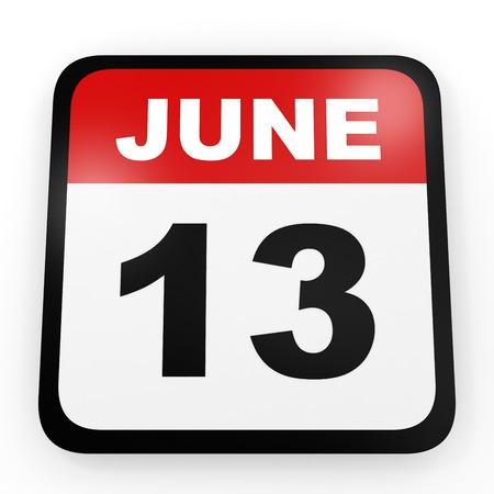13th: June 13. Calendar on white background. 3D illustration. Stock Photo