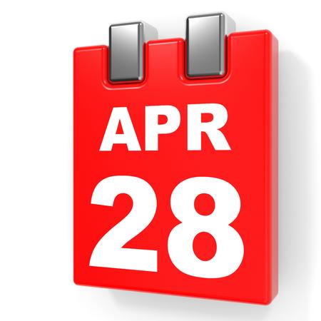 28: April 28. Calendar on white background. 3D illustration. Stock Photo