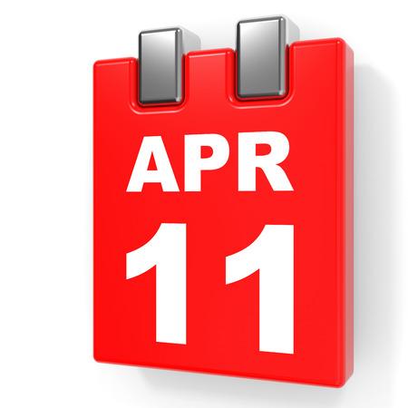 April 11. Calendar on white background. 3D illustration.