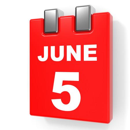 June 5. Calendar on white background. 3D illustration. Stock Photo