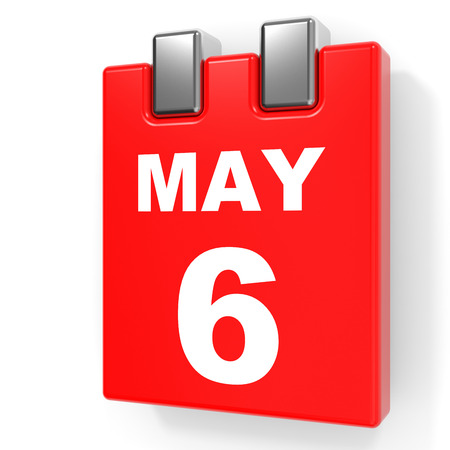 May 6. Calendar on white background. 3D illustration.