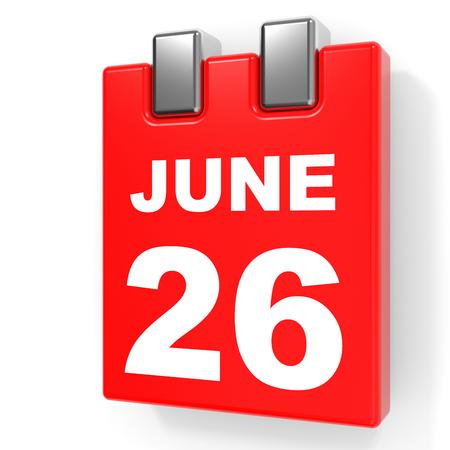 June 26. Calendar on white background. 3D illustration.