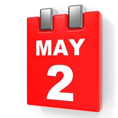 May 2. Calendar on white background. 3D illustration.